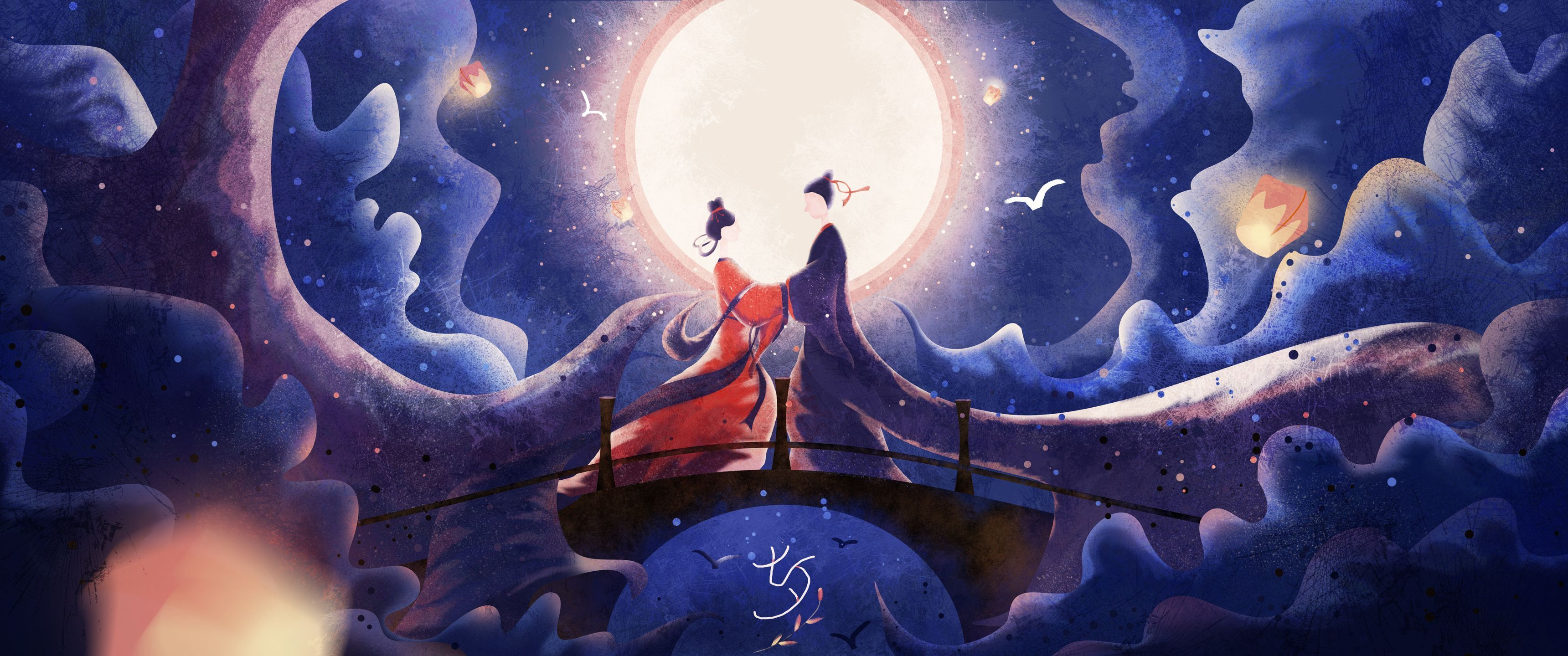 七夕节牛郎织女手绘插画3440x1440壁纸 彼岸图网 Jpg