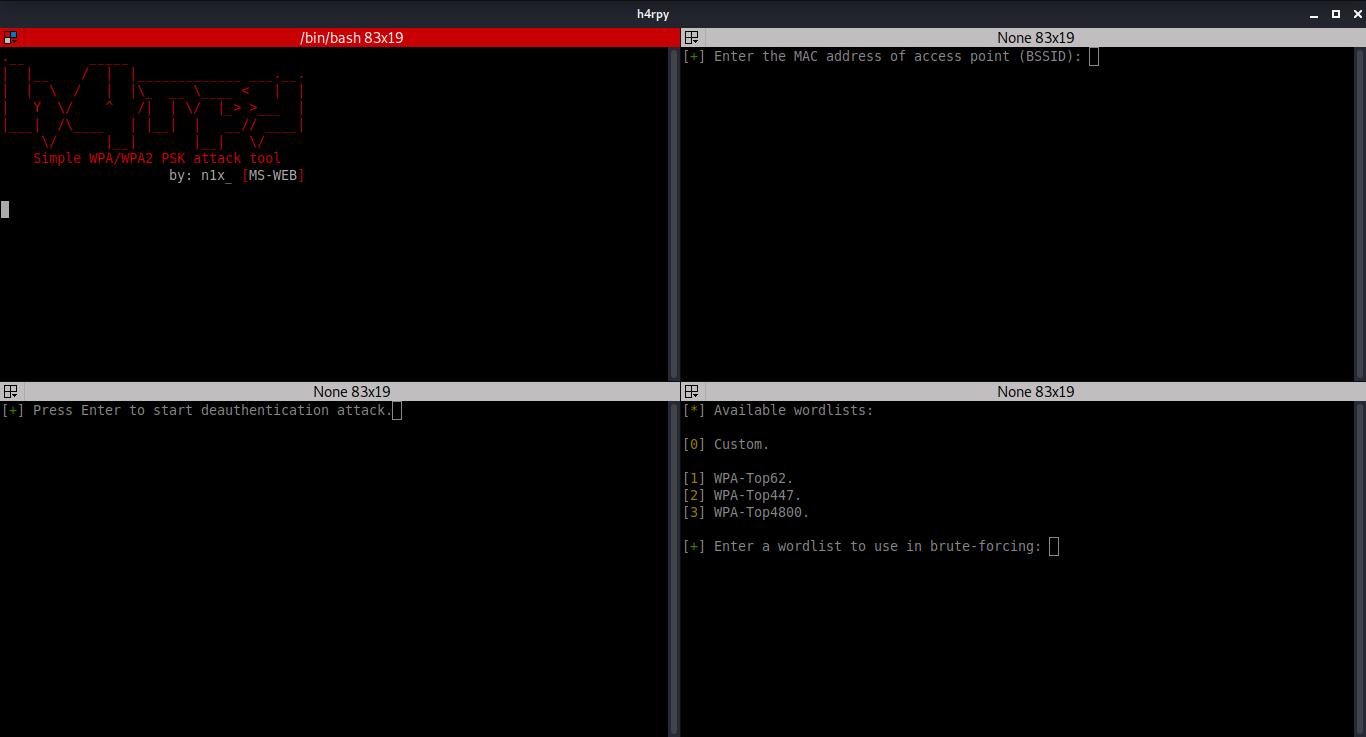 h4rpy:一款自動WPA/WPA2 PSK攻擊工具
